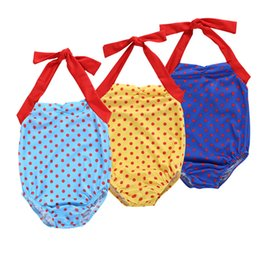 fd7001f9e3172 Girls colorful Dots Halter neck Bikini 3 colors for 1-5Y Kids summer basic  style lace-up swimwear B11