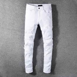 weiße baumwollhose für männer Rabatt 19 Marken-Mann-Jeans Designer Luxury Kundenspezifische neue White Hole jean Baumwolle Klassische beiläufige wilde Art und Weise Hosen Hochwertige Micro-elastische Strumpfhosen