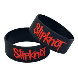 Pulseras de banda de rock online-JEPHNE Música Slipknot Pulsera De Silicona Pulsera Cuff Punk Rock Banda de Goma Poder Hombres Pulseras Joyería de Moda Regalos