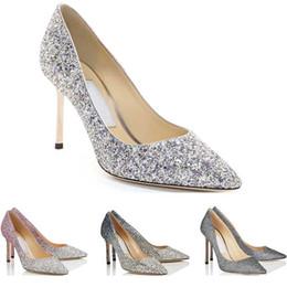 Damen kleiderschuhe online-JC Designer Frauen Mädchen High Heels Romy Fashion Luxus 8 10 12 CM Kleid Büro Party Hochzeit Kristall Schuhe Größe 36-42 mit Box
