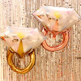 2019 bagues de fiançailles en or gros diamant nouveau grand Diamant Bague En Aluminium Ballon Saint Valentin Feuille D'aluminium Ballons À Air De Mariage Ballon De Fiançailles bagues de fiançailles en or gros diamant pas cher