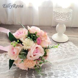 Малый размер розовый свадебный букет для невесты девушки цветка Свадебные цветы искусственные розы шелковая лента красивый букет mariage cheap silk ribbon roses от Поставщики шелковые ленты