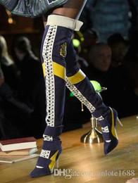 Bottes de moto femmes sexy en Ligne-Patchwork Sexy Femmes Cuisse Bottes Designer Pointu Toe Talons Pompes À Lacets Longues Bottillons De Moto Lady Velvet Sur Les Bottes Au Genou