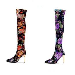 2019 bottes en latex Mode sexy bottes à talon sur le genou Nouvelle personnalité bottes pour femmes imprimées en automne et en hiver promotion bottes en latex