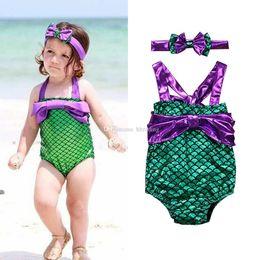 d90f393cc9326 Children Swimwear 2019 summer One-Pieces bathing suits baby girls Mermaid  Swimsuit with bow Headband cartoon Fish scale Bikinis C6379