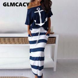 Due pezzi maxi skirt set online-T-shirt da donna a due pezzi T-shirt con stampa di ancoraggio a barca Imposta gonna casual alla caviglia Moda Off spalla maxi gonna a strisce Y19062601