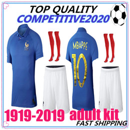 4aad2eece62 adult kit France 1919 2019 Special Edition Centenary soccer jerseyS HENRY long  sleeve mbappe GIROUD maillot de foot ZIDANE football shirt