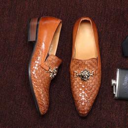 loafers casuais tecem Desconto 2019 verão Preto, Marrom Tecido 100% Couro Genuíno mens casual sapatos de alta qualidade dedo apontado sapatos Loafers homem