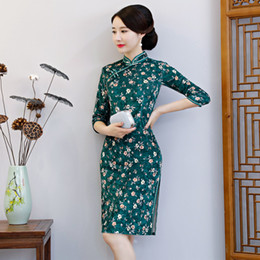 2020 велюр плюс размер платья Velour New Chinese Traditional Women Qipao Vintage Oriental Female Cheongsam Novelty Chinese Formal Dress Plus Size 3XL 4XL дешево велюр плюс размер платья
