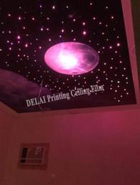 2019 pintura a óleo fundo preto Estrelas no filme do teto do estiramento da Lua cheia do filme do teto da impressão do céu com decoração da iluminação do opti da fibra