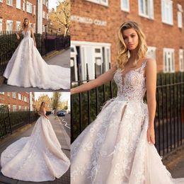 ff0fcf87b624 Discount beautiful designer wedding dresses - Vintage Lace Wedding Dresses  Long Cathedral Train Elegant Appliques Sheer