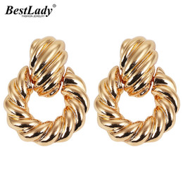 db3907e79 Best lady New Vintage Gold Stud Earrings for Women Wedding Vintage Spiral  Grain Bohemian Pendant Statement Earrings Party Gifts