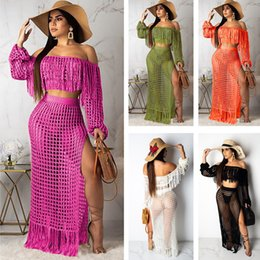 2019 casual langer rock trainingsanzug Sexy Strand Anzug Langarm Outfits Frauen Sommer Zweiteiler Casual Aushöhlen Quaste Crop Top + Split Maxi Röcke Trainingsanzug C51406 günstig casual langer rock trainingsanzug