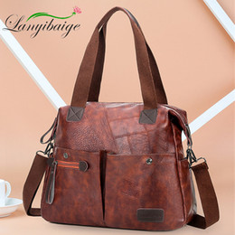 multi compartment handbags Coupons - Multi-pocket Casual Large Capacity Women Tote Shoulder Bag PU Leather Ladies Handbag Messenger Bag Soft Shopping Crossbody