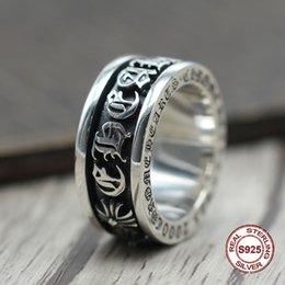 2019 silber kreuzband S925 Sterling Silber Ring Persönlichkeit Punk Wind Rotation breite Seite herrschsüchtig Mode Retro Kreuz Brief Stil günstig silber kreuzband