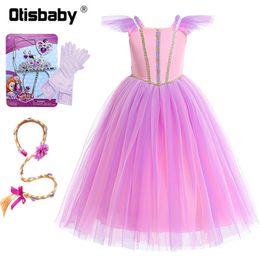 2019 pelucas rapunzel Año nuevo Pink Girls Rapunzel traje de princesa de encaje de tul sin mangas largo vestido de noche de Halloween enredado Rapinzel peluca pelucas rapunzel baratos