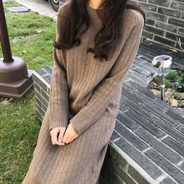 cabelos gordurosos Desconto Little Fat Irmã Outono Inverno Net Red Tricô Vestido Vestido de Tamanho Grande Mulheres Idade Mostrar Cabelo Fino Vestido Longo Sobre O Joelho S19801