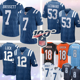 short colt Promo Codes - 7 JACOBY BRISSETT 53 Darius Leonard Indianapolis # Colts Jersey 18 A.J. Green Bengals Jersey Andrew Luck 8 Marcus Mariota Football Titans