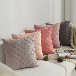 Almofadas verificadas on-line-Suprimentos de uso doméstico simples Nordic travesseiro capa de camurça Check Luxury capa de almofada