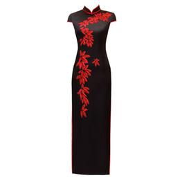 colar qipao Desconto Bordado Strass Estilo Chinês Qipao Longo Handmade Botão Cheongsam Vestido das Mulheres Gola Mandarim Vestido Tradicional M-3XL