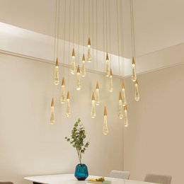 LED Su Damlası kolye ışık minimalist İskandinav loft Kristal metal Asılı Lamba Nordic sanat ve yaratıcı restoran ışık cheap scandinavian lighting nereden iskandinav aydınlatma tedarikçiler