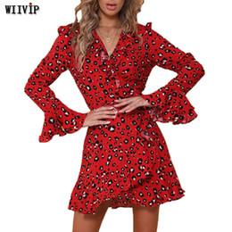 дама весеннее платье ремень Скидка Женские весенние и летние платья с длинным рукавом с бабочкой Женское мини-платье с леопардовым принтом Sexy Lady с поясом