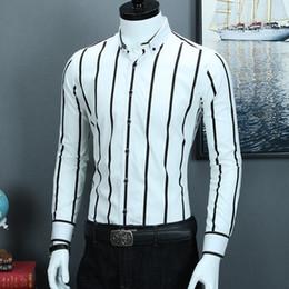 vestire il contrasto dimagrante Sconti Camicie a righe larghe a contrasto in bianco e nero da uomo Camicia button-down a maniche lunghe slim fit da uomo in cotone