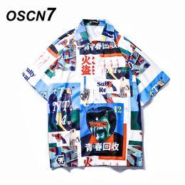 Praia moda coreia on-line-OSCN7 Impresso Camisas Homens Rua de Manga Curta 2019 Moda Verão Praia Camisa Dos Homens Soltos Casual Coréia Chemise Homme 661