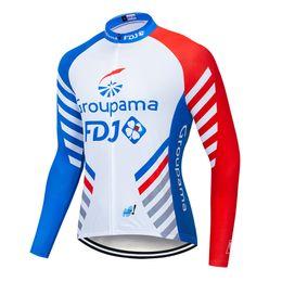 2019 equipo ciclista fdj Primavera verano camisetas de ciclismo largas 2019 FDJ Team PRO 3 COLORES Mtb manga larga hombres ropa de ciclismo ropa equipo ciclista fdj baratos