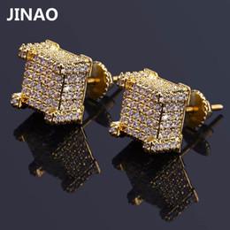 fil étoile rouge Promotion Jinao Hip Hop Nouvelle Mode Iced Out Bling Boucles D'oreilles Or Couleur Micro Pave Cubique Zircon Carré Stud Pour Les Hommes Femmes C19041101