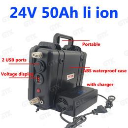 2019 li 3.7v comprimido Lítio à prova d 'água 24 v bateria recarregável 24 V 50AH li ion 18650 7 s BMS para a praia solar cruzador de iluminação de Emergência + 5A carregador