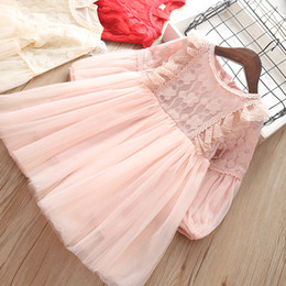 Mangas de ursinho de renda vermelha on-line-Bebê meninas rendas princesa dress 2019 rosa vermelho bege coreano crianças palácio sopro manga plissado vestidos vestidos de festa de crianças vestidos