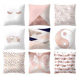 Projetos geométricos do coxim on-line-45 cm x 45 cm novo design 2019 venda quente subiu pó de ouro geométrica poliéster fronha sofá capa de almofada fronha almofada