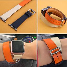 relógios samsung gear fit Desconto Kebitt homens mulheres dupla turnê bandas para apple watch série 4 3 pulseira de couro genuíno Iwatch4 Dois Loop Wrist Band Herm 40mm 44mm T190708