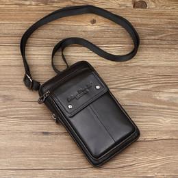 mobiltelefone für unternehmen Rabatt Herren Echtes Leder Kleine Quadratische Tasche Hochwertige Multifunktions Umhängetasche Retro Business Office Handy Lagerung Y19051802