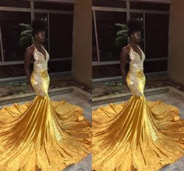 0a50fea717a evening dresses for girls 12 14 Promo Codes - 2019 Plus Size Yellow Velvet  Long Mermaid