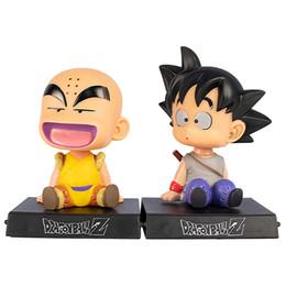 tremor de telefone Desconto Atacado Bola Z Figura Anime Japonês Figuras de Brinquedo Goku Decoração Do Carro Shaking Head Action Figure e Suporte de Telefone PVC Gift12 CM