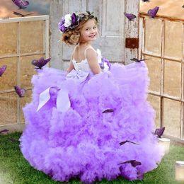 2019 освещение для свадеб Светло-фиолетовое пышное бальное платье для девочек Конкурсные платья класса люкс 2020 Кристалл Перо Маленькие дети Вечерние платья для девочек Цветочные платья для свадеб дешево освещение для свадеб