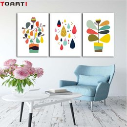 Pote de imagens de pintura on-line-Color Drop Flower Pot cartaz abstrato Canvas pintura moderna decalques de parede Art Prints Modular parede Imagem Para Bedroom Home Decor
