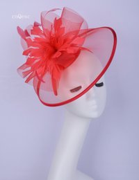 Grandes plumas rojas online-2019 Big Red crin pluma fascinator nupcial sombrero sinamay base para prom mother'day Races kentucky derby
