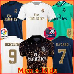 Vrai joueur en Ligne-FANS PLAYER VERSION Maillots de football du Real Madrid 19 20 HAZARD MILITAO camiseta 2019 2020 VINICIUS maillot de foot hommes + kit enfant enfants troisième de la soccer jersey