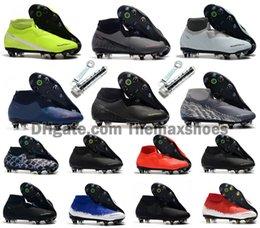 Nouvelle chaussure de foot football en Ligne-2019 Phantom Vision Elite VSN DF SG -Pro Anti Clog Feu New Lights Acier Pointe Mens haute cheville Crampons Football Chaussures de football américain Taille de 6,5 à 11