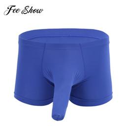 2019 calções de noite sexy adulto Sexy Adulto Homens Lingerie Noite Estiramento Gelo Seda Translúcido Boxer Briefs Shorts Underwear Cuecas com Bainha Pênis Fechada calções de noite sexy adulto barato