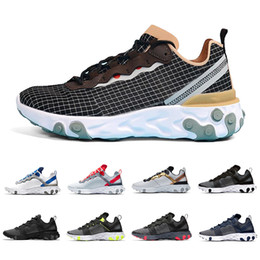 Zapatos corrientes más nuevos online-Newest Solar Red Nike epic React Element 55 Total Orange Men Running Shoes For Women Designer Sneakers Sports Mens women Trainer 55s Sneakers 36-45