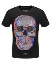 d8a04107c7c DUYOU mens designer t shirts men short sleeve fashion rhinestone big Colored  skull man t-shirt male high quality 100% cotton tees dy569