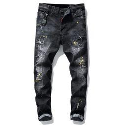 2019 beiläufige weinleseart Jeans 2019 der großen Größe malen Lochartluxusjeans-Denimhosen der neuen Männer nehmen passende beiläufige Bleistiftjeans ab, die 1010 frei versenden günstig beiläufige weinleseart