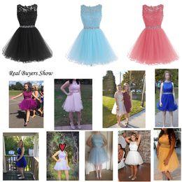 meninas tamanho bling vestido Desconto Sweet 16 Prom Dresses apliques de renda curtos com cristal Beads Puffy Tulle Cocktail Party Vestidos Little Black graduação Baile Vestidos
