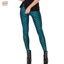 2019 pantalón estampado digital Polainas negras 2019 Impresión Digital Mujeres sólido sirena de la escala de pescados más el tamaño de Leche metálico geométrico Stretch Legging Pant Mujer pantalón estampado digital baratos