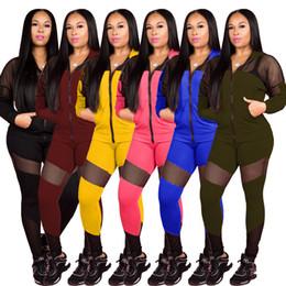 Vestito puro due pezzi online-2020 Il nuovo stile due pezzi Set Top e pantaloni con pannelli Tuta Donna 2 pezzi Set Coordinato Sheer Imposta Club Outfits Conjunto Deportivo Mujer