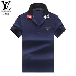 chemises pour hommes nouveau design de mode Promotion Nouveau Hommes Polo Shirts Bee Broderie Hommes Polos Chemise Design De Mode Couleur Stripe Polo T-shirts 3XL